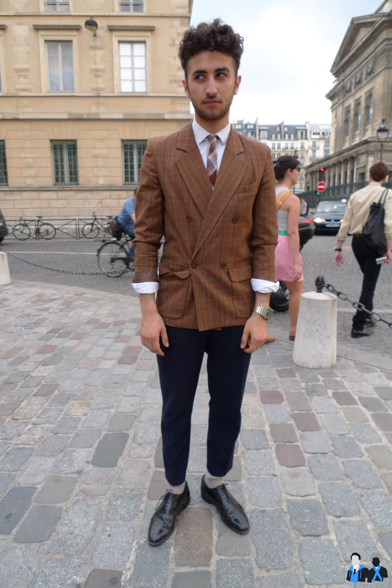 dandy veste cravate à carreaux