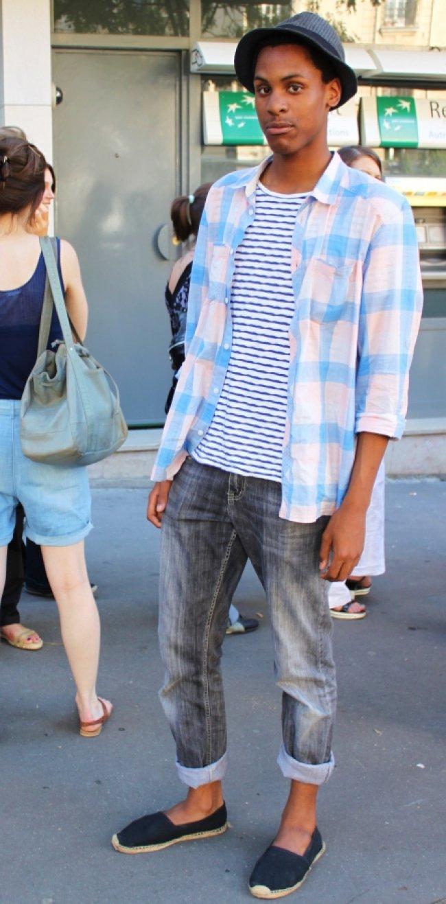 espadrilles, chemise, pantalon