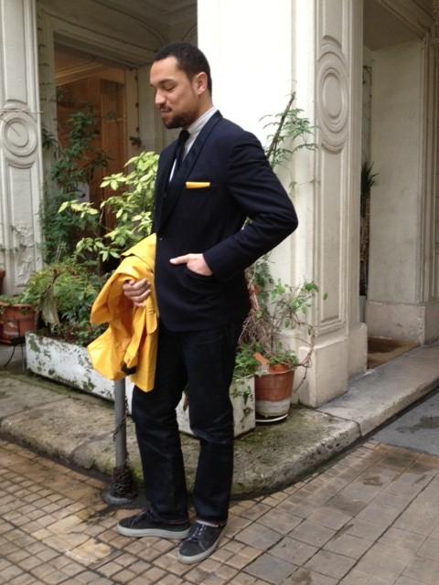 dandy veste smoking col chale bleu marine pochette en cuir