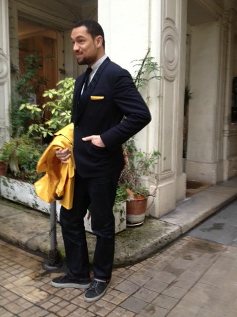 dandy costume veste smoking col châle cravate tricot